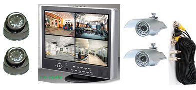 4Cam H.264 CCTV DVR kit with 15inch LCD display: HK-S1504M-kit