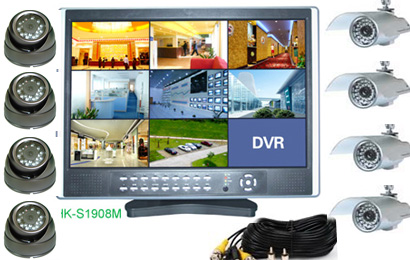 8Cam CCTV DVR-Kit mit 19-Zoll-LCD-Display: HK-S1908M-kit